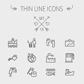 pic of garbage bin  - Ecology thin line icon set for web and mobile - JPG