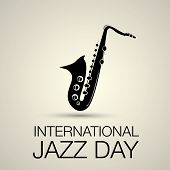 foto of saxophones  - International jazz day vector illustration with saxophone - JPG