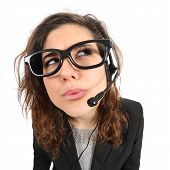 image of telephone operator  - Funny telephone operator agent thinking and looking sideways isolated on a white background - JPG