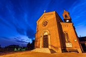 image of early morning  - Parish church early in the morning in small italian town of Serralunga d - JPG