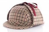 picture of sherlock holmes  - British Deerhunter or Sherlock Holmes cap on white background - JPG