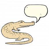 stock photo of alligator  - cartoon alligator with speech bubble - JPG