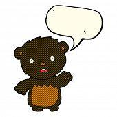 picture of bear-cub  - cartoon shocked black bear cub with speech bubble - JPG