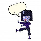 image of undead  - cartoon undead girl with speech bubble - JPG