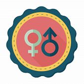 image of gender  - Gender Symbol Flat Icon With Long Shadow - JPG