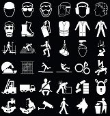 image of ppe  - Black and white construction manufacturing and engineering health and safety related graphics set isolated on black background - JPG