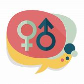 stock photo of gender  - Gender Symbol Flat Icon With Long Shadow - JPG