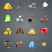 foto of gem  - Mining strategy game cartoon icons set with gem picking tools isolated vector illustration - JPG