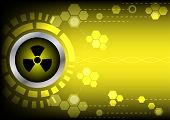 pic of radioactive  - abstract radioactive technology on yellow color background - JPG