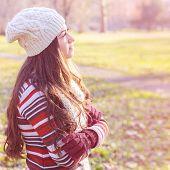 picture of winter season  - Beautiful Happy Smiling Girl winter autumn season outdoor portrait - JPG