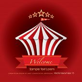 picture of tarp  - circus tent icon like cake with banner and sample text - JPG