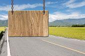 foto of tranquil  - Blank wooden sign on field of farm - JPG