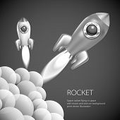 stock photo of spaceships  - Rocket icon space vector spaceship technology illustration ship fire symbol flame cartoon art - JPG