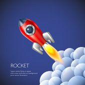 pic of spaceships  - Rocket icon space vector spaceship technology illustration ship fire symbol flame cartoon art - JPG