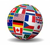 stock photo of flags world  - Travel services and international business management concept with a globe and international flags of the world vector EPS 10 illustration isolated on white background - JPG