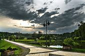 stock photo of kiev  - summer park Feofania in Kiev before the storm - JPG