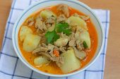 picture of thai cuisine  - curry pork soup with vagetable delicious  - JPG