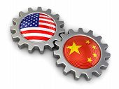 picture of snatch  - USA and Chinese flags on a gears - JPG
