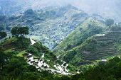 pic of ifugao  - Amazing panorama view of rice terraces fields in Ifugao province mountains under cloudy blue sky. Banaue Philippines UNESCO heritage ** Note: Soft Focus at 100%, best at smaller sizes - JPG
