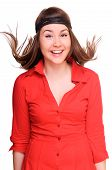 picture of woman red blouse  - young woman laughs merrily - JPG