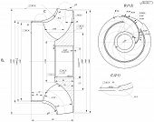 stock photo of degree  - Expanded sketch of engineering wheel with chamfers - JPG