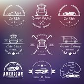 foto of auto garage  - Set of vintage car club drift club auto parts and garage labels badges and design elements - JPG