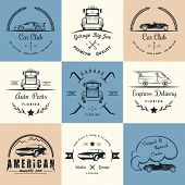 stock photo of auto garage  - Set of vintage car club drift club auto parts and garage labels badges and design elements - JPG