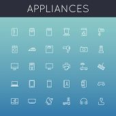 stock photo of blender  - Thirty appliances line icons - JPG