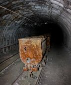 stock photo of mines  - Empty mine trolley in mines - JPG
