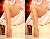 image of comparison  - Comparison legs of a woman without and with beauty retouching - JPG