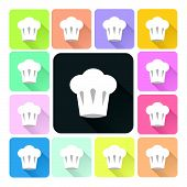 picture of chef cap  - Chef hat Icon color set vector illustration - JPG