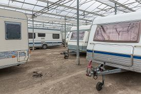 pic of caravan  - Caravan parking in an empty Dutch Greenhouse - JPG