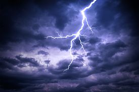 image of cloudy  - Lightning strike on the dark cloudy sky - JPG