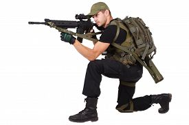 pic of m16  - rifleman with m16 rifle isolated on white - JPG