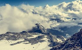 pic of rosa  - Aerial view of a mountain slopes covered with snow - JPG