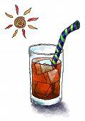 stock photo of iced-tea  - cartoon illustration of a glass of iced tea on a hot day - JPG