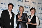LOS ANGELES - JAN 5:  Cory Monteith, Jane Lynch, Chris Colfer arrives at 2011 People's Choice Awards