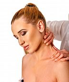 Постер, плакат: Shoulder and neck massage for woman in spa salon Doctor making neck therapy in rehabilitation cente