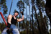 Strong Healthy Cheerful Adult Ripped Man With Big Muscles Workin poster