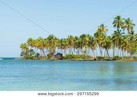 poster of Travel Vacation Tropical Destination. Small Tropical Island Landscape. Travel Vacations Destination.