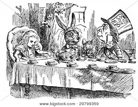 Mad Tea Party Engraving by