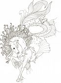 Drawing Sea Horse In Zentangle Style For Adult Coloring Pages. Stylized Illustration Of Sea Horse Wi poster