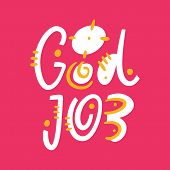 Good Job Phrase Hand Drawn Vector Lettering Phrase. Modern Typography. Isolated On Pink Background. poster