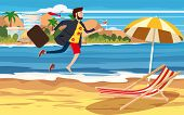 Transition To Vacation. Businessman In Business Clothes Making The Transition From A Separate Image  poster