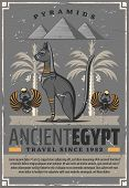 Egypt Travel And Ancient Egyptian Landmarks Tourist Tours. Vector Travel Agency Poster Of Pharaoh Ca poster