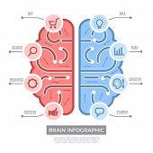 Brain Infographic. Conceptual Thinking Learning Symbols Vector Creative Business Pictures With Place poster
