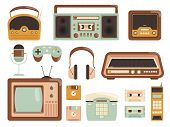 Retro Gadgets. 80s Electronic Cassette Recorder Tape Audio Music Player Radio Cell Phone Vector Pict poster