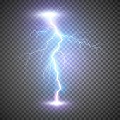 Lightning Flash Bolt Or Thunderbolt. Blue Lightning Or Magic Power Blast Storm. Vector Illustration  poster