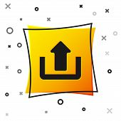 Black Upload Icon Isolated On White Background. Up Arrow. Yellow Square Button. Vector Illustration poster