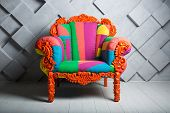 Concept Of Luxury And Success With Multi Colored Velvet Armchair, Job Vacancy. poster